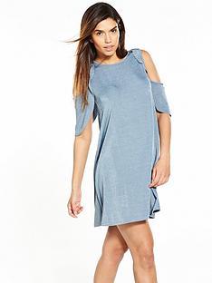 v-by-very-cold-shoulder-frill-rib-dress-blue