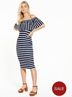 v-by-very-stripe-bandeau-midi-dress