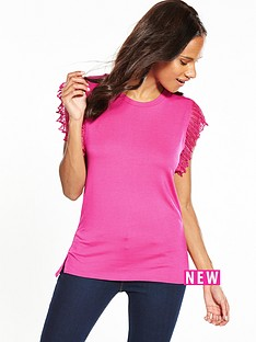 v-by-very-pleated-lace-sleeve-t-shirt-hot-pink