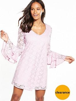 v-by-very-lace-v-neck-tiered-sleeve-dress-lilac