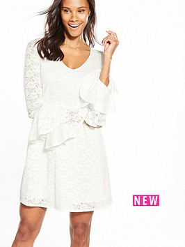 v-by-very-lace-v-neck-tiered-sleeve-dress-ivory