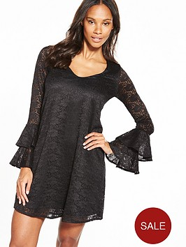 v-by-very-lace-v-neck-tiered-sleeve-dress
