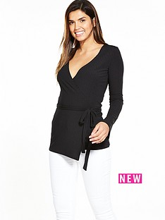 v-by-very-drape-rib-ballet-top-black