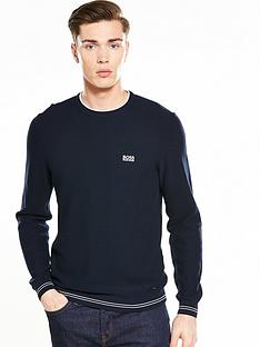 boss-green-textured-crew-jumper