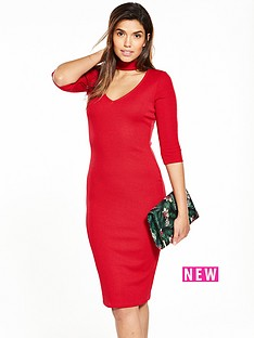v-by-very-choker-rib-jersey-midi-dress-red