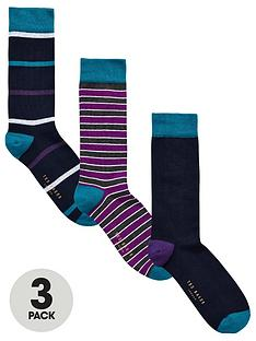ted-baker-3pk-stripeplain-sock
