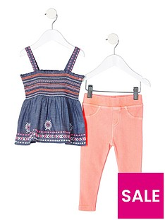 river-island-mini-girls-blue-chambray-shirred-top-outfit