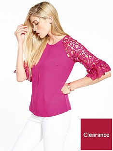 v-by-very-fluted-lace-sleeve-top