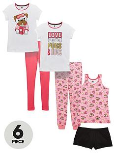 v-by-very-6pc-sleepover-pug-pj-set