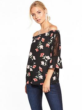 v-by-very-printed-lace-trim-bardot-top