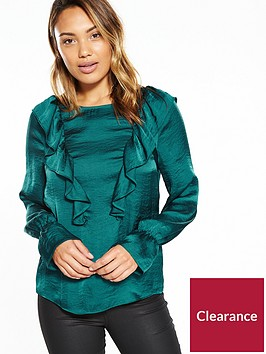 v-by-very-hammered-satin-fluted-sleeve-ruffle-blouse