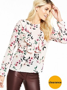 v-by-very-printed-fluted-sleeve-ruffle-blouse