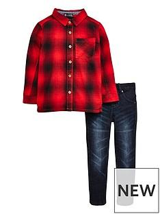 mini-v-by-very-boys-brushed-check-shirt-amp-jean-set