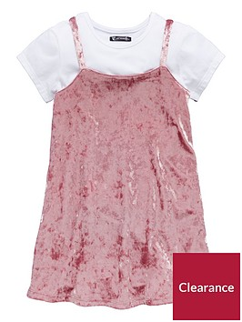 mini-v-by-very-girls-crushed-velour-pink-dress-amp-white-tee