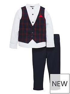mini-v-by-very-boys-navy-amp-red-tartan-3-piece-occasion-suit