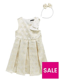 mini-v-by-very-girls-cream-amp-gold-jacquard-dress-amp-headband