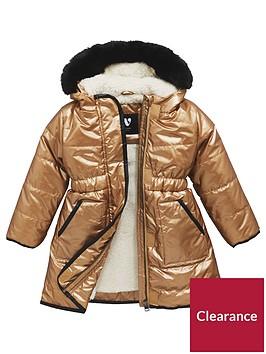 mini-v-by-very-girls-longline-metallic-faux-fur-trim-coat