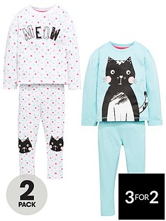 mini-v-by-very-girls-2-pack-cat-slogan-pyjamas