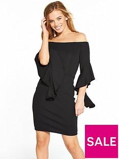 v-by-very-petite-flute-sleeve-bardot-dress-black