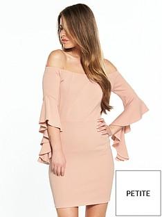 v-by-very-petite-flute-sleeve-bardot-dress
