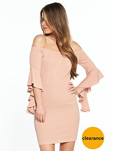 v-by-very-petite-flute-sleeve-bardot-dress