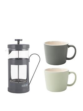 kitchencraft-la-cafetiere-8-cup-monaco-cafetiere-2-cup-set
