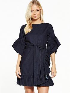 v-by-very-ruffle-yoke-denim-dress
