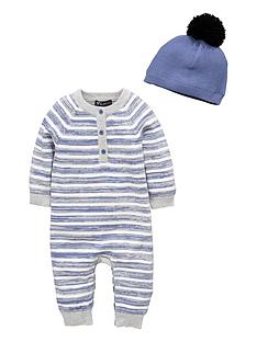 mini-v-by-very-baby-boys-stripe-knitted-romper-amp-bobble-hat-set