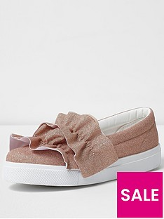 river-island-nude-frill-slip-on-trainer