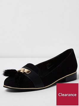 river-island-river-islandnbspblack-tassle-slipper-shoe