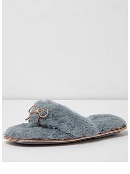 river-island-fluffy-bow-flip-flop-slippers-light-blue