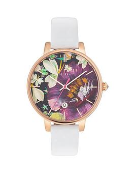 ted-baker-enchanted-garden-print-dial-white-leather-strap-ladies-watch