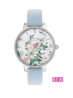 ted-baker-enchanted-garden-print-dial-blue-leather-strap-ladies-watch
