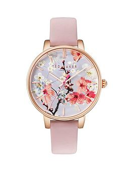 ted-baker-floral-dial-pink-leather-strap-ladies-watch