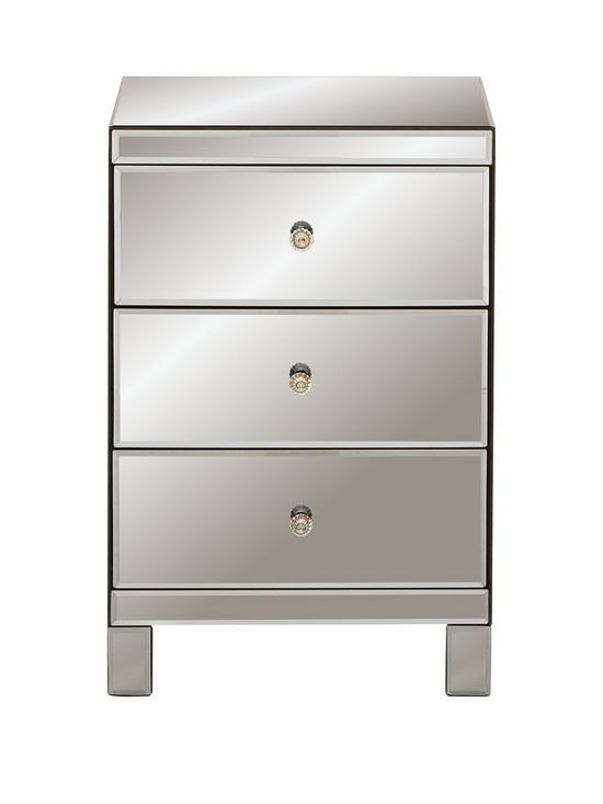 Smoked Mirrored Furniture On Ideal Home Parisian Ready Assembled Smoked Mirror Drawer Bedside Cabinet Verycouk
