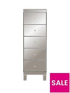 Ideal Home Parisian Ready Assembled Tall Mirrored 5 Drawer Chest