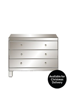 Ideal Home Parisian Ready Assembled Wide 3 Drawer Chest in Smoked Mirrors