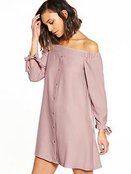river-island-pink-bardot-swing-dress
