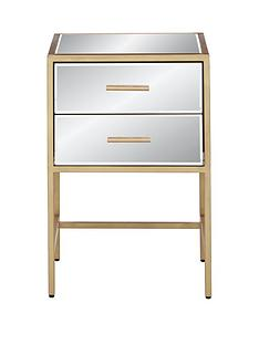 Ideal Home Gold Ready Assembled 2 Drawer Mirror and Metal Bedside Chest