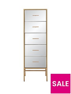 Gold Ready Assembled Tall Mirror and Metal 5 Drawer Chest