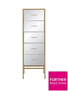 Ideal Home Gold Ready Assembled Tall Mirror and Metal 5 Drawer Chest