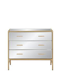 Ideal Home Gold Ready Assembled Mirror and Metal 3 Drawer Chest