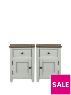 Luxe Collection Newport Set of 2 Painted Ready Assembled 1 Door, 1 Drawer Bedside Chests