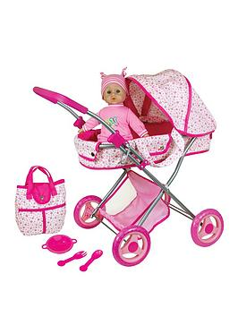 lissi-doll-pram-amp-13inch-33cms-baby-doll-gift-set