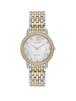 citizen-citizen-eco-drive-mother-of-pearl-dial-swarovskireg-crystal-stainless-steel-two-tone-bracelet-ladies-watch