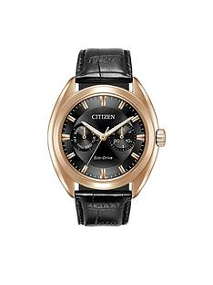 citizen-citizen-eco-drive-black-multi-dial-rose-tone-case-black-leather-strap-mens-watch