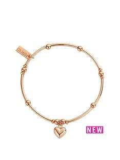 chlobo-chlobo-sterling-silver-rose-gold-plate-mini-noodle-ball-puffed-heart-bracelet