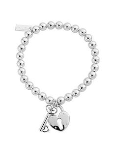 chlobo-chlobo-sterling-silver-small-ball-lock-amp-key-braceletnbspfree-silver-bracelet-with-every-chlobo-purchase-over-pound95-limited-time-only-nbsp