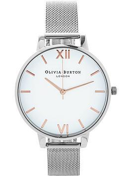 olivia-burton-big-white-dial-mesh-watch-silver