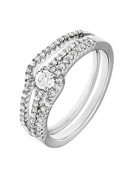 love-diamond-9ct-white-gold-45-points-white-diamond-cluster-bridal-set